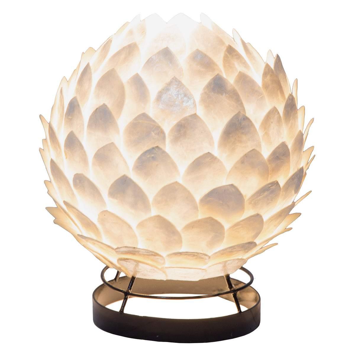 Lampada da tavolo Bali in madreperla bianca Illuminazione per interni