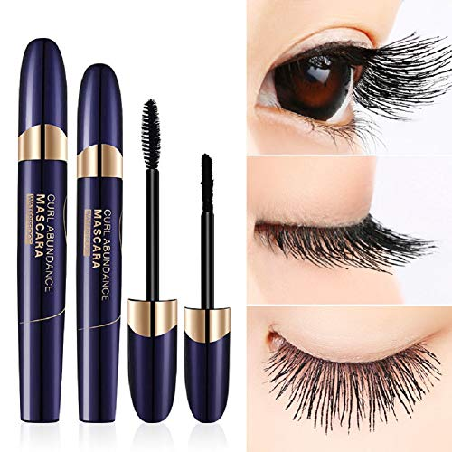4D Silk Fiber Eyelash Mascara, Fiber Mascara, Mascara Waterproof, Impermeabile Volume Mascara 3D Fiber + Black Lash Mascara, No Glue Safe Alternative To False Lash Extensions - 1
