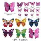 72 Pz Farfalle Adesive daParete HO2NLE 3D Adesivi Muro Farfalle Magnetico Stickers Murali Farfalle per Decorare Casa Pareti Balcone Bambini Camera Armadio Fai Da Te 8 Colori Brillanti - 1