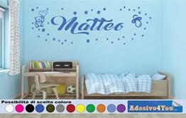 Adesivi Murali Bambini Nome personalizzato con Orsetto, stelline e Albero.Adesivo Nome Wall Stickers Personalizzato Decorazione Cameretta per Bambino. Adesivo4You - 1