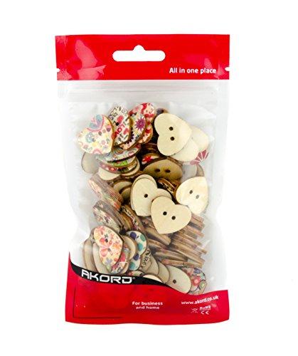 AKORD misto stampato fiore cucito bottoni in legno a forma di cuore, legno,, 2.2x 2.5x 0.3cm - 1