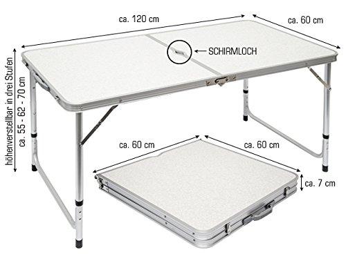 AMANKA Tavolino da PIC-nic 120x60x70cm Tavolo da Campeggio in Alluminio Altezza Regolabile Pieghevole Formato Valigia Grigio Chiaro - 1