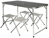AMANKA Tavolino da pic-nic incl 4 Sgabelli Tavolo da campeggio 120x60x70cm altezza regolabile pieghevole formato valigia Grigio Scuro - 1