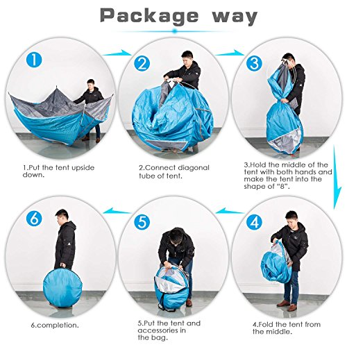ANSTEN Tenda da Campeggio per 2 Persone, Tenda Impermeabile Pieghevole con Borsa per Il Trasporto Facile da Montare - 1