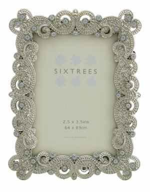 """Anticato, stile Shabby Chic Vintage, colore: argento-Cornice per foto in metallo, con perline e cristalli, 10 cm per styles 8,89 (3,5 6,35 cm x (2,5: 64 x 89 mm, motivo: foto di Sixtrees, metallo, Argento, 3.5""""x2.5"""" Matilda - 1"""