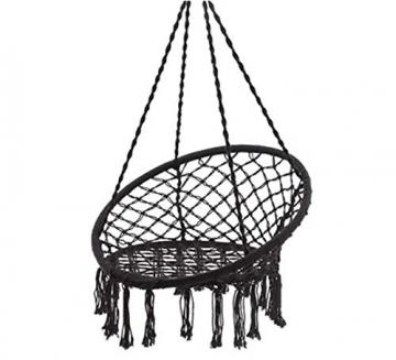 Appreciis - Amaca a dondolo in macramè, amaca in macramè, dondolo da appendere, amaca in corda di cotone e macramè, capacità di 125 kg, cuscino aggiuntivo - 1