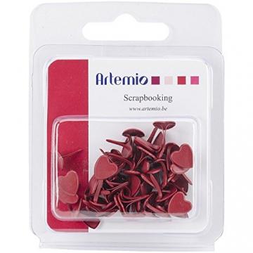 Artemio 100-Piece Mini Brads Fiori, Rosso - 2