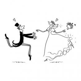 Artemio Matrimonio Uomo e Donna Timbro, Legno, Nero, 5,8x 2,5x 8,7cm - 1
