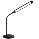 AUKEY Lampada da Scrivania a LED 6W, Lampada da Lettura con 3 Livelli di Luminosità, Controllo Touch e Protezione degli Occhi, Angolo Regolabile e Collo Flessibile (Nera, LT-ST1) - 1
