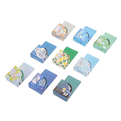 Aulola, collezione di washi tape, nastro adesivo decorativo giapponese, per decorazioni fai da te su riviste, scrapbook, agende e telefoni, confezione da 9 Style 2 (Pack of 9) - 1