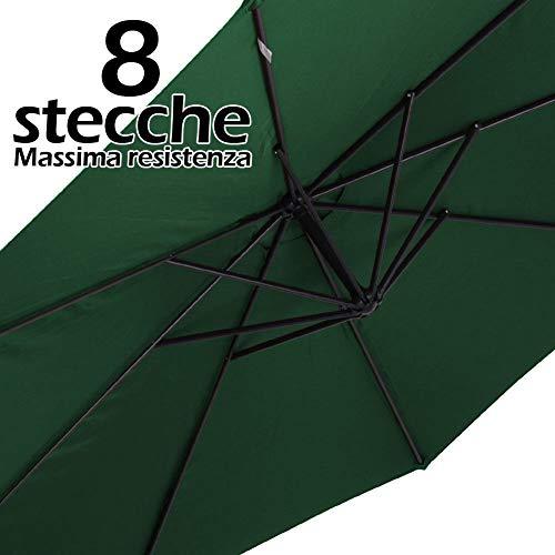 BAKAJI Ombrellone da Giardino Decentrato 3x3 Mt Palo Alluminio Chiusura a Manovella Base a Croce Sistema Air Vent Arredamento Esterno Gazebo Piscina Giardino Terrazzo Ambienti Esterni (Verde) - 1