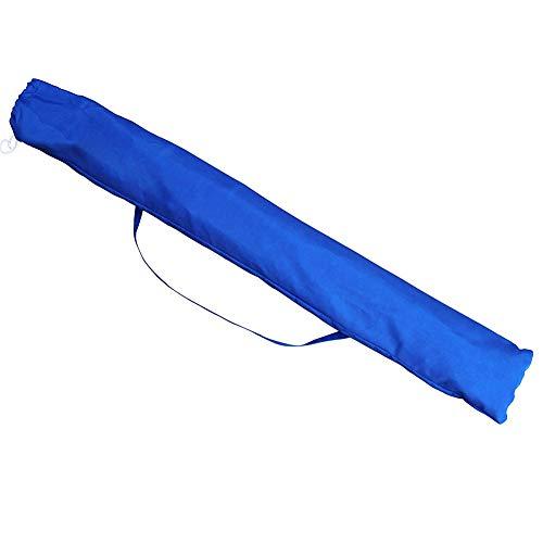 BAKAJI Ombrellone da Mare Spiaggia Giardino con Palo in Alluminio Reclinabile Rivestimento in Tessuto Anti UV Diametro 200 cm con Tracolla Custodia Colore Blu con Pattern Foglie - 1