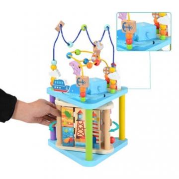 Baobë Set di Giocattoli in Legno con Labirinto, Giocattoli per cubetti Ragazze per Bambini, Labirinto di Perline educativo per Bambini Piccoli, Centro di attività 4-in-1 (Mondo Marino) - 2