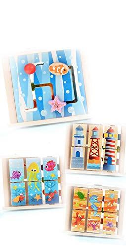 Baobë Set di Giocattoli in Legno con Labirinto, Giocattoli per cubetti Ragazze per Bambini, Labirinto di Perline educativo per Bambini Piccoli, Centro di attività 4-in-1 (Mondo Marino) - 1