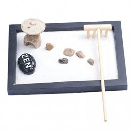 Baoblaze Zen Giardino Sabbia Vassoio Mini Incenso Bruciatore Pietra Ciottoli Rastrello Set Vasa Camera da Letto Festa Decori Ornamento Feng Shui Regalo di Nozze - #1 - 1