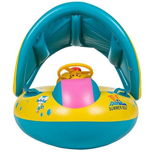 barca per bebè gonfiabili,Piscina Baby Salvagente Bambini Float con Parasole(1-3 anni ) - 1