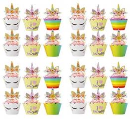 Bdecoll 24Pcs toppers torta unicorno cupcake topper, torta di compleanno dessert cupcake party decors - 1