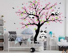 BDECOLL Cartone Animato Albero Felice Animali con Panda Adesivi Murali, Camera Dei Bambini Vivai Adesivi da Parete Removibili/Stickers Murali/Decorazione Murale (Rosa) - 1