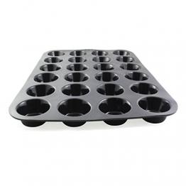 Belmalia Teglia per Mini Muffin, Silicone, 33 x 25 x 2 cm, 24 Stampi, Rivestimento Antiaderente Cupcake Brownie Budino Nero - 1