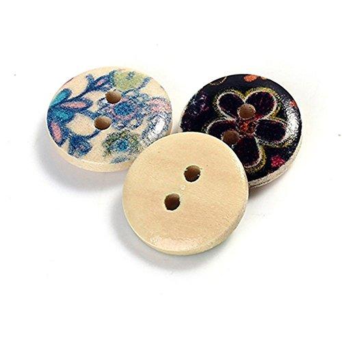 Bismarckbeer bottoni in legno rotondi colore misto 2 fori per fai da te, cucito, scrapbooking, 100 pezzi - 1
