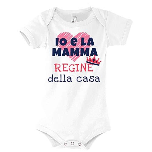 Body Bimba Idea Regalo per la Festa della Mamma, Io e la Mamma Regine della casa, Neonata Infanzia (Bianco, 3-6 Mesi) - 1