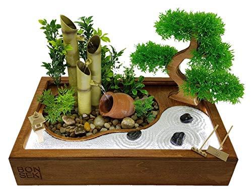 Bonseki® Fontana zen da interno 40 x 25cm nero con giardino zen da tavolo, bonsai e led. Personalizzabile. - 1