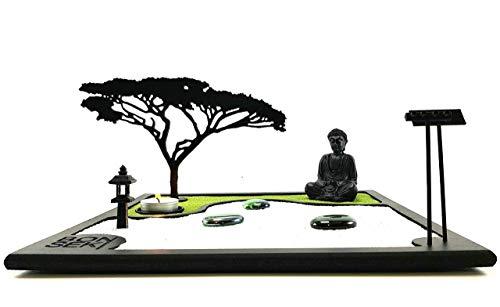 Bonseki® Giardino Zen da tavolo 30 x 30 cm in legno, buddha, la candela proietta l'ombra del bonsai sulla parete. Personalizzabile - 1
