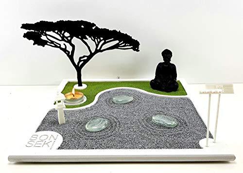 Bonseki® Giardino Zen da tavolo 30 x 30 in legno, proietta l'ombra del bonsai sulla parete, personalizzabile. - 1
