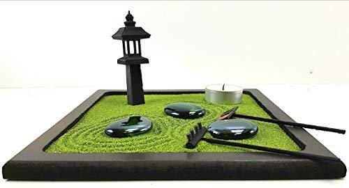 Bonseki® Piccolo Giardino zen da tavolo in legno 20x20 cm, con lanterna giapponese. Personalizzabile, visualizza le opzioni. - 1