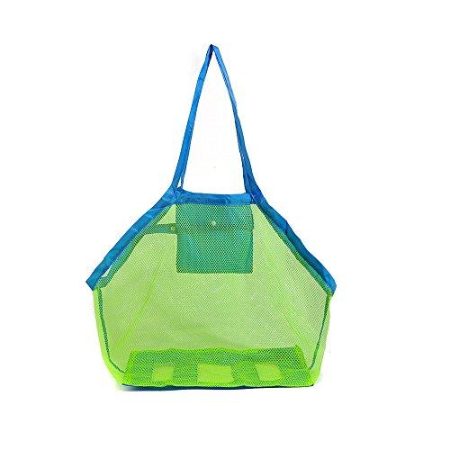borsa da spiaggia TOPBEST La grande borsa da spiaggia in tessuto a rete con tote, zaino, asciuga la sabbia degli asciugamani, perfetta per contenere i giocattoli dei bambini - 1