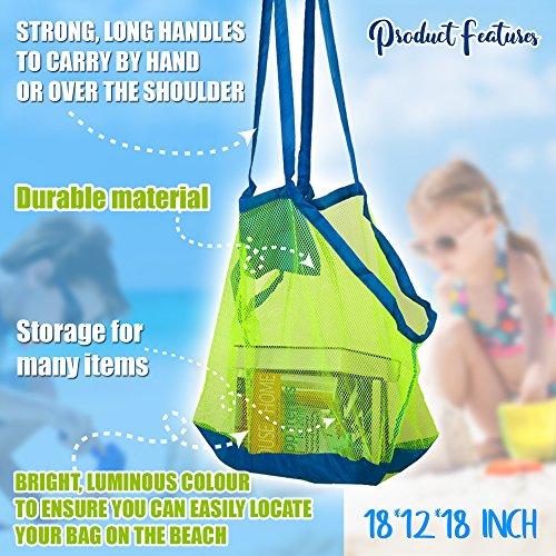 Bramble Set di 2 borse da spiaggia a rete. Perfette per portare i giocattoli da spiaggia, asciugamani ecc. Ideali per la piscina. borsa giochi mare. Ottime borse per le vacanze estive - 1