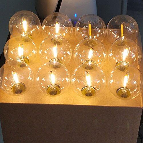 BRTLX 18Ft Catena Lampadine LED Esterno con 12Pcs LED G40 Luci Giardino Lampadina Decorative per Giardino,Festa,Matrimonio,Party Decorazioni di Nozze,2 Lampadine di Ricambio - 1