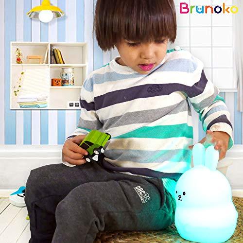 BRUNOKO Luce notturna allattamento portatile e ricaricabile a 9 colori - Lampadario cameretta bambini a LED multicolore - Ricaricabile USB con telecomando - Silicone morbido e lavabile - 1