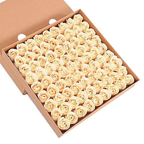 Butterme 81pcs mano bagno profumato sapone del germoglio della Rosa petali di fiori di favore di nozze in contenitore di regalo (Oro) - 1