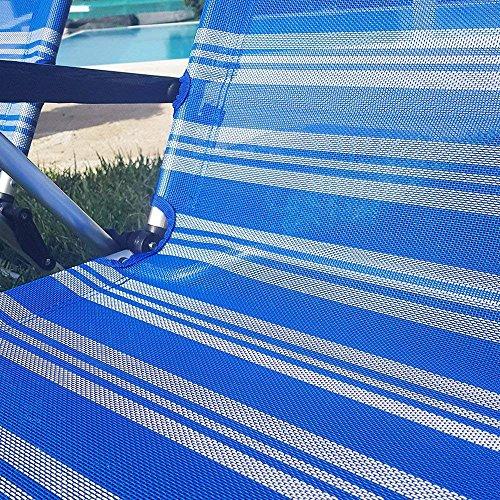 BUYSTAR Coppia spiaggine spiaggina Sdraio Pieghevoli Portatili per Il Mare Piscina Giardino Campeggio Sedia Sdraio da Spiaggia con braccioli e Cuscino in Alluminio e textilene - 1