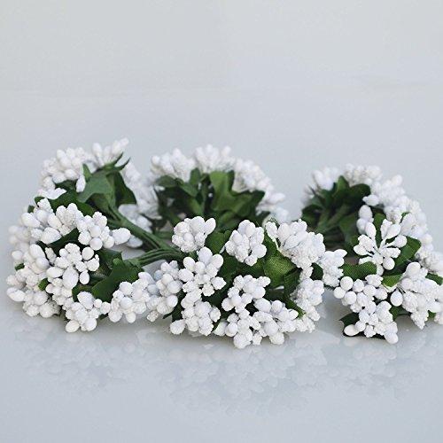 C.X.Y. 144 Bacche (Set 12 Fiori da 12 Pistilli Bacche) bomboniera Confezione Scatola Fiore Fai da Te (Bianco) - 1