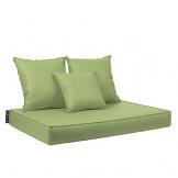 CAB BAVARO Lime Set Cuscino Seduta 82x122 h.11 cm + Due Cuscini Schienale 60x60 cm. + Cuscino Schienale 45x45 cm. Rivestimento in Ecopelle PVC - 1
