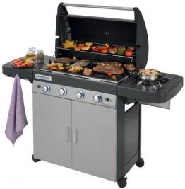 Campingaz Barbecue Gas 4 Series Classic LS Plus, Grill Barbecue con 4 Bruciatore e 1 a Lato, Potenza 12.8 kW, Sistema di Pulizia Facile InstaClean, Griglia e Piastra in Ghisa, 2 Tavoli a Lato - 1
