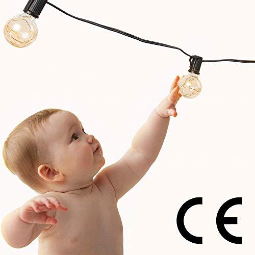 Catena Luminosa 10 Metri - Catena Luminosa con 30 Lampadine LED 10mt, Catena di Rame Basso Consumo Bassa Temperatura, Impermeabile IP65 da Casa Giardino Feste all'aperto, Bianco Caldo Bello Effetto - 1