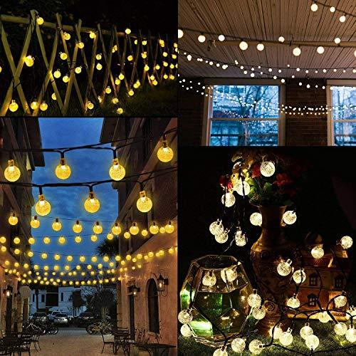 Catena Luminosa, Mr.Twinkelight 4.5M 30LED Luce Stringa Solare di Crystal Globe, Luce Esterno Ideale per Decorazioni di Natale, Feste, Vacanze, Cortili, Pergole, Impermeabile IP65 (Bianco caldo) - 1