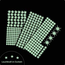 Cielo Di Loft Wandtattoo 350 fluorescente Punti luce e Stelle luminose - autoadesivo 150 + 200 punti) - Adesivo da parete con lungo luminosità, ideale per cameretta bambini camera letto - 1