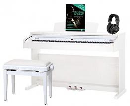 Classic Cantabile DP-50 WM pianoforte digitale bianco opaco panchetta cuffie - 1