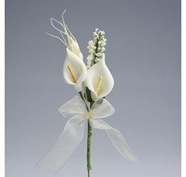 """Confezione 24 pezzi-fiori, """"MAZZETTO CALLE CON SPIGHETTA"""" fiore artificiale, x segnaposto, composizione confetti. (CK2123) - 1"""