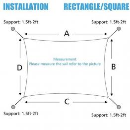 Cool Area Tenda a Vela Rettangolare 2.5 x 3 Metri Protezione Raggi UV, Resistente e Traspirante, Colore Sabbia - 1