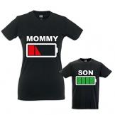 Coppia di T-Shirt Magliette Mamma E Figlio Idea Regalo Festa della Mamma Battery Mom T-Shirt Nere Mamma e Maschietto Donna S - Bimbo 3-4 Anni - 1