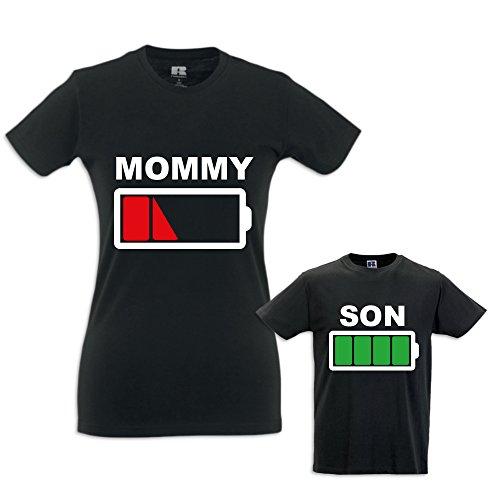 Coppia di T-Shirt Magliette Mamma E Figlio Idea Regalo Festa della Mamma Battery Mom T-Shirt Bianche Mamma e Femminuccia Donna M - Bimbo 5-6 Anni - 1