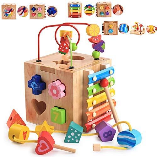 Cubo attività Bead Maze Giochi Centri 5-in-1 Multifunzione Montagne Russe Educativi Prima Scatola di apprendimento Infanzia Giocattoli per Bambini Regalo di Natale Regali di Compleanno - 1