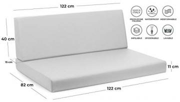 CUSCINI PER BANCALE IN LEGNO SET REFORMA LIME TESSUTO ECOPELLE IDROREPELLENTE SFODERABILE MIS.82 x 122 spessore cm.11 SCHIENALE 40 x 122 … - 3