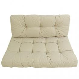 Cuscini per pallet (bancali) sedile + schienale per esterni colore ecru in Olefin | Sedile: 80x120x16 cm + Schienale: 42x120x16 cm | Non scolorisce | Repellente all'acqua | Spedizione gratuite - 1