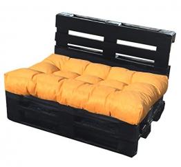 Cuscino per bancale 120x80x15 cm - cuscino per seduta divano pallet di legno - COLORE GIALLO ARANCIATO - 1